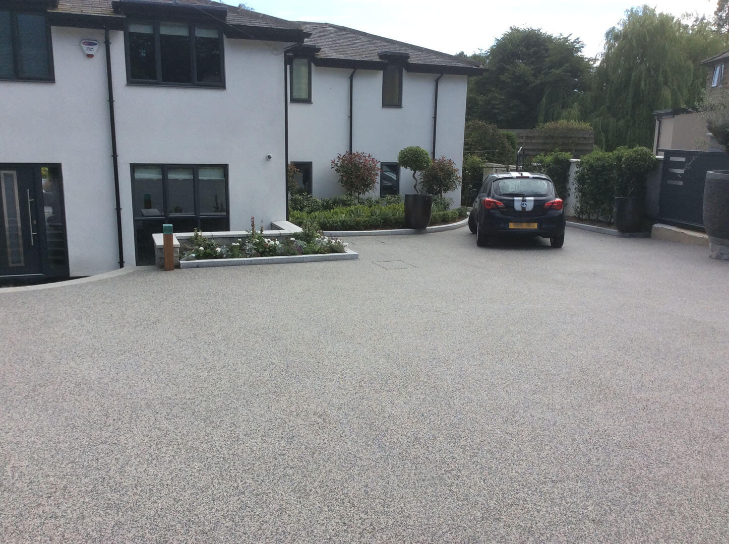 Resin driveway back of house