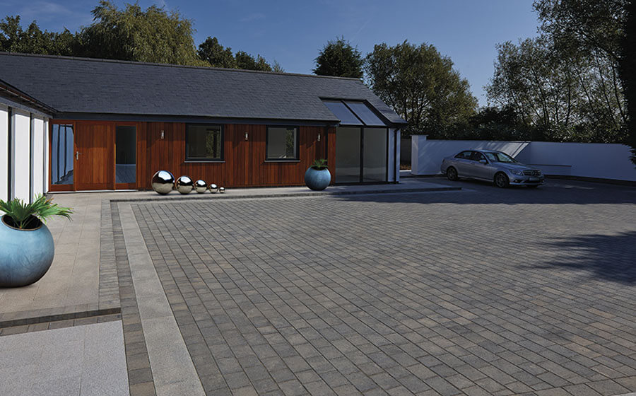 Block paving court area