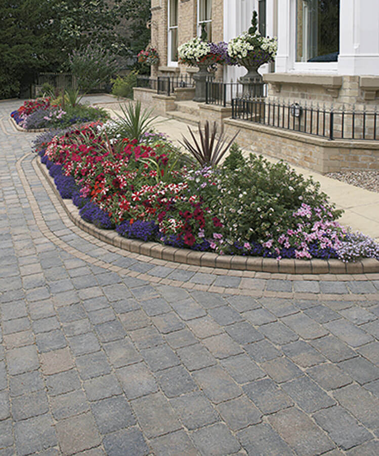 Block paving around flower bed